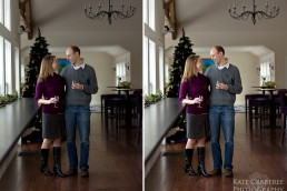A before and after engagement photo of Erin and Keith