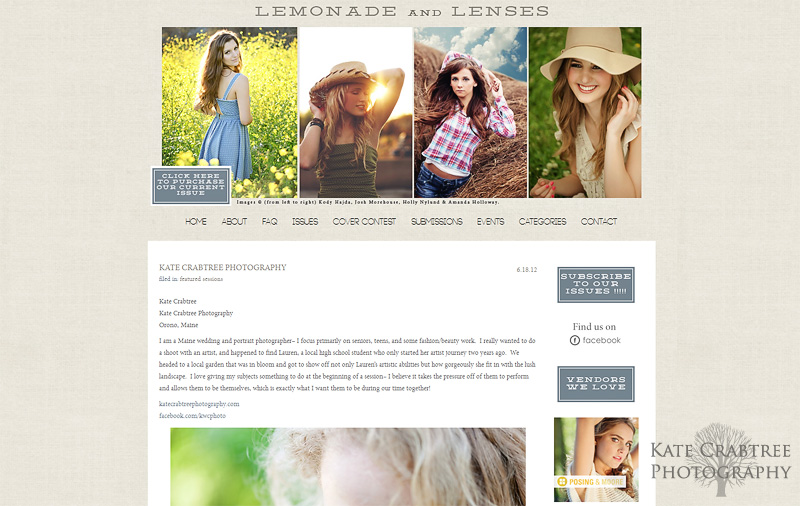 Maine portrait photographer Kate Crabtree is featured on Lemonade and Lenses