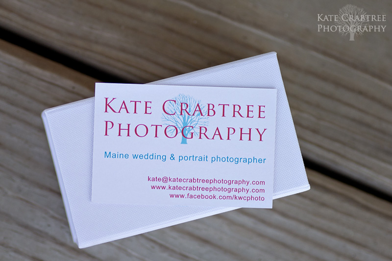 Kate Crabtree Photography, a Maine wedding photographer, business card