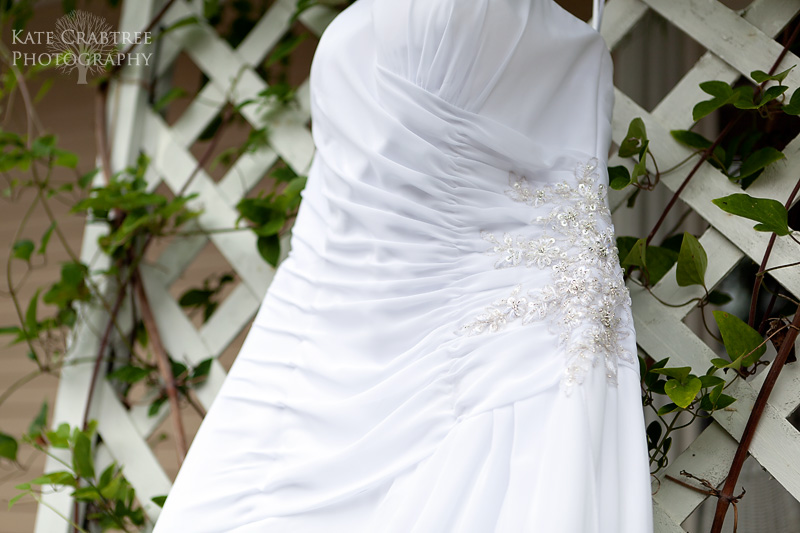 A photo of a wedding dress at a central Maine wedding