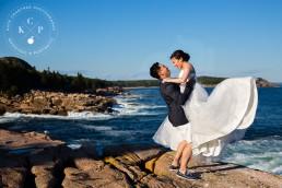 Wedding Portraits in Acadia National Park | Helen & Felix | Maine Wedding Photographer | Kate Crabtree Photography 16