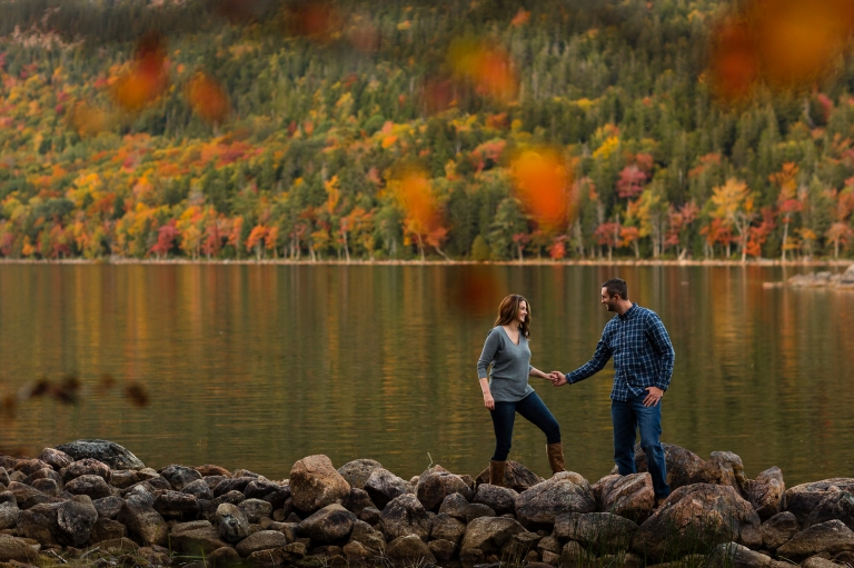 The foliage is spectacular at Jaimie and Cory's engagement session at Jordan Pond in Acadia