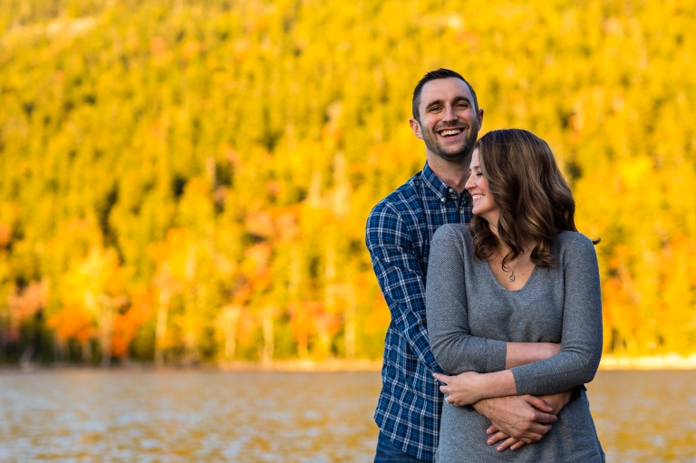 Beautiful fall foliage at Jordan Pond for Jaimie and Cory's engagement session at Jordan Pond
