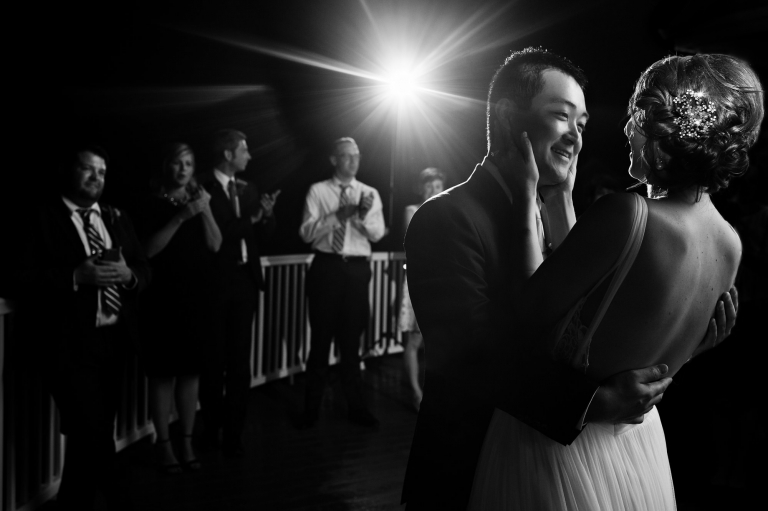 An emotional couple of a bride and groom at their Castine Maine wedding