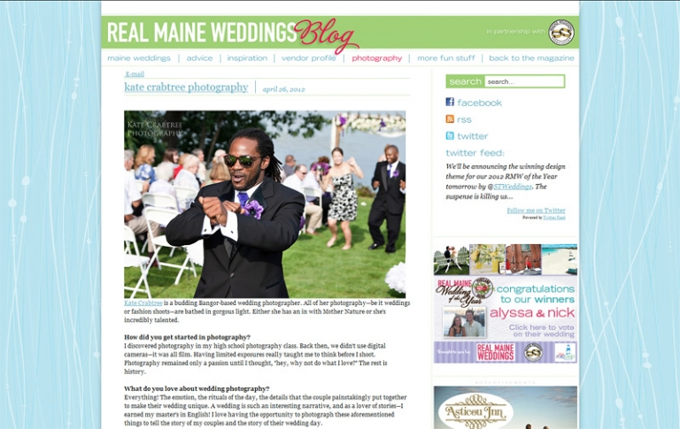 Maine wedding photographer Kate Crabtree was featured on Real Maine Weddings
