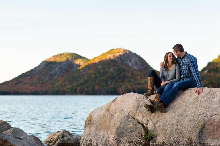 The bubbles are in the background of Jaimie and Cory's engagement session at Jordan Pond in Acadia
