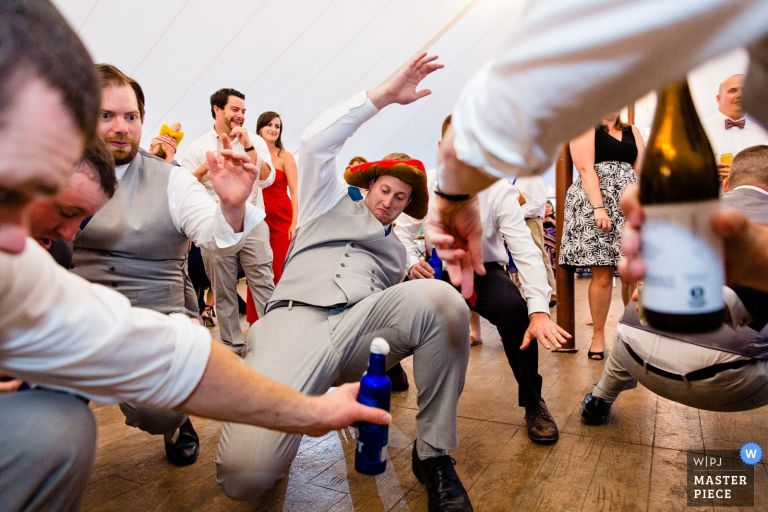 Guests dance at a French's Point wedding in Maine
