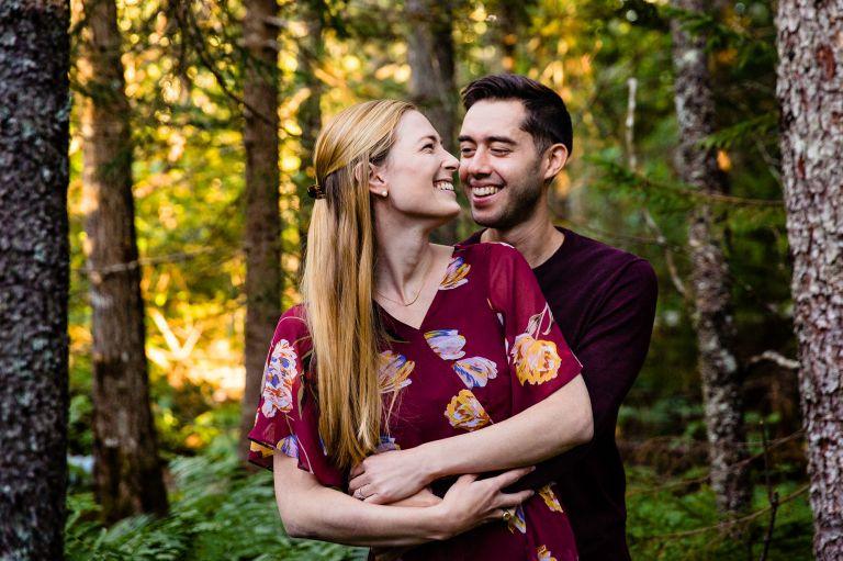 Engagement portraits on Wonderland Trail in Acadia