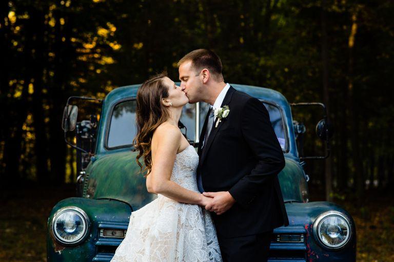 A fall wedding portrait taken in southern Maine