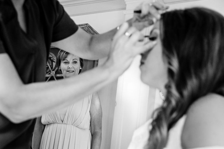 The bride gets ready at her Barn at Flanagan Farm wedding in Buxton, Maine