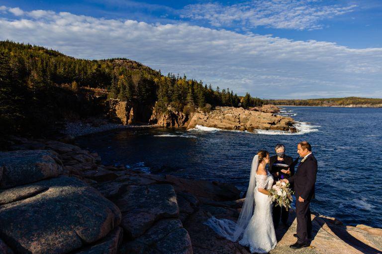 A wedding ceremony at Acadia National Park