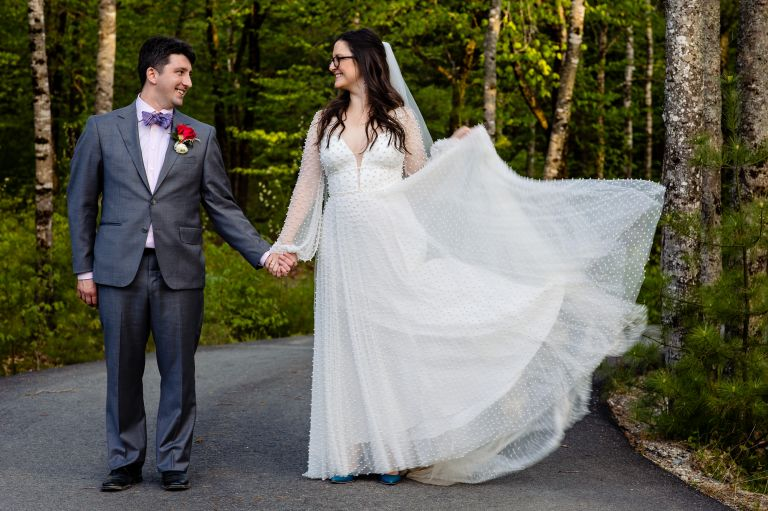 Wedding portraits in the Maine woods