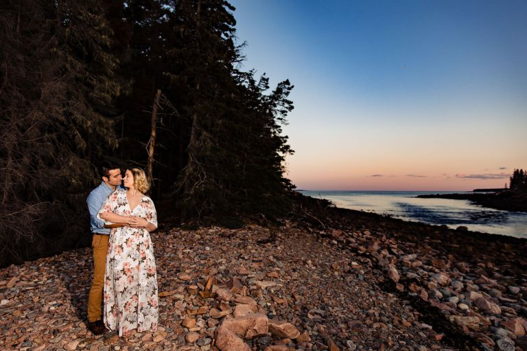 A sunset engagement session in Acadia