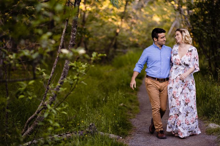 A couple does engagement sessions on the quiet side of Acadia National Park